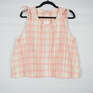 Madewell Plaid Crop Swing Tank Pink White L
